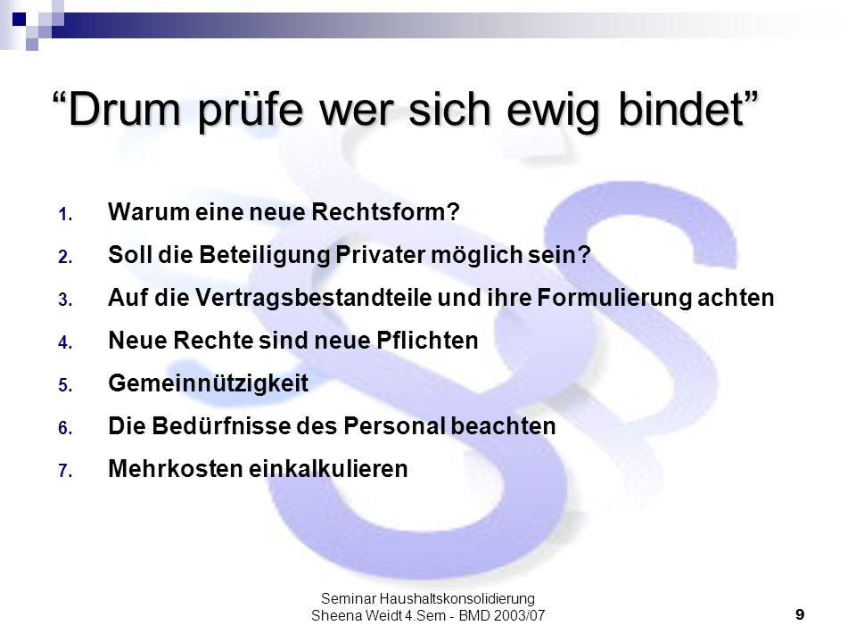 Seminar Haushaltskonsolidierung Sheena Weidt 4.Sem - BMD 2003/079 Drum prüfe wer sich ewig bindet 1. Warum eine neue Rechtsform? 2. Soll die Beteiligu