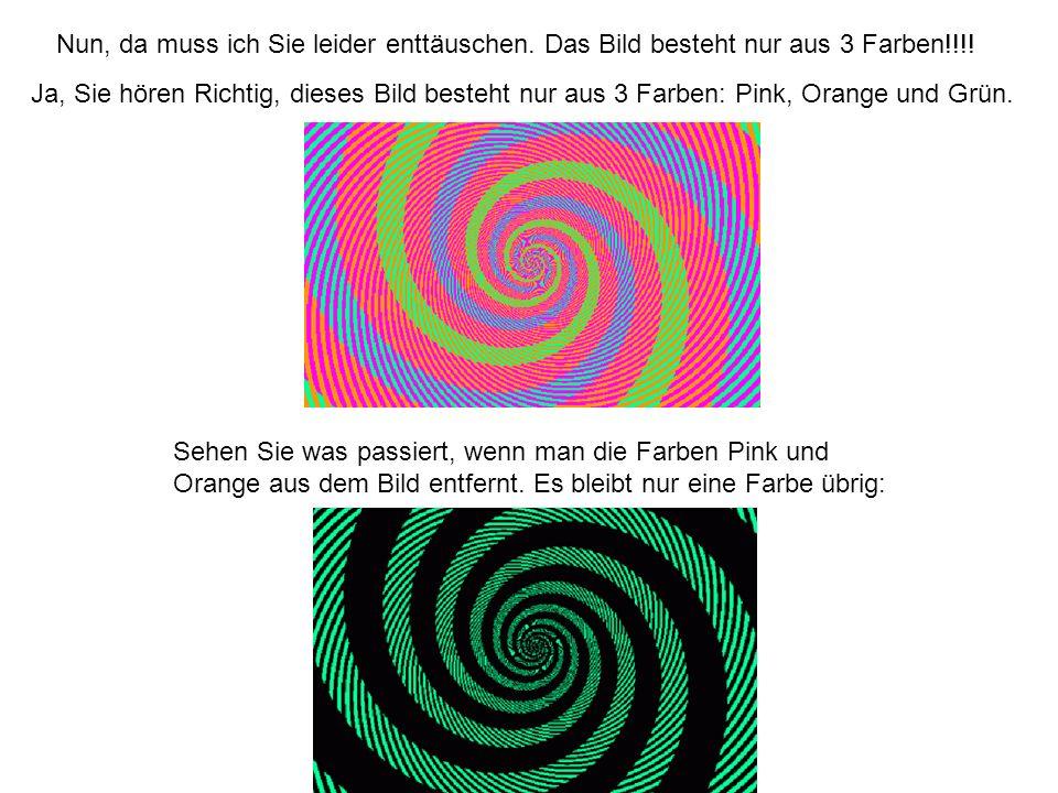 Nun, da muss ich Sie leider enttäuschen. Das Bild besteht nur aus 3 Farben!!!! Ja, Sie hören Richtig, dieses Bild besteht nur aus 3 Farben: Pink, Oran