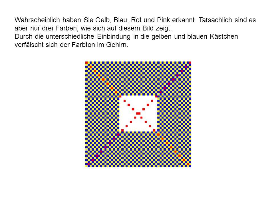 Wahrscheinlich haben Sie Gelb, Blau, Rot und Pink erkannt. Tatsächlich sind es aber nur drei Farben, wie sich auf diesem Bild zeigt. Durch die untersc