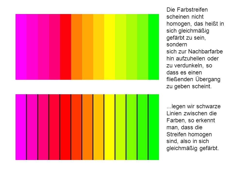 Die Farbstreifen scheinen nicht homogen, das heißt in sich gleichmäßig gefärbt zu sein, sondern sich zur Nachbarfarbe hin aufzuhellen oder zu verdunke
