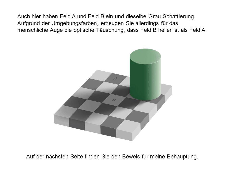 Auch hier haben Feld A und Feld B ein und dieselbe Grau-Schattierung. Aufgrund der Umgebungsfarben, erzeugen Sie allerdings für das menschliche Auge d