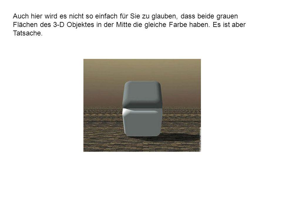 Auch hier wird es nicht so einfach für Sie zu glauben, dass beide grauen Flächen des 3-D Objektes in der Mitte die gleiche Farbe haben. Es ist aber Ta