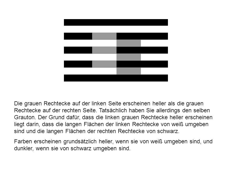 Die grauen Rechtecke auf der linken Seite erscheinen heller als die grauen Rechtecke auf der rechten Seite. Tatsächlich haben Sie allerdings den selbe