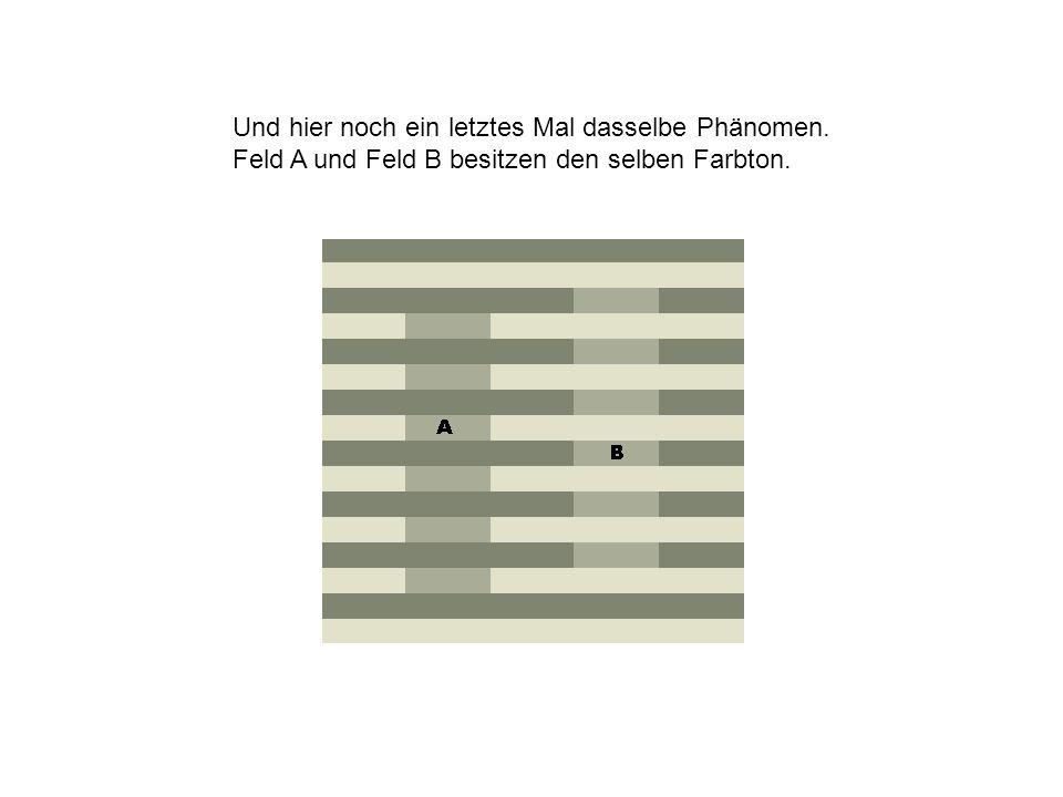 Und hier noch ein letztes Mal dasselbe Phänomen. Feld A und Feld B besitzen den selben Farbton.