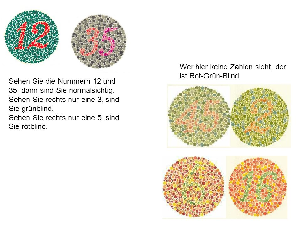 Sehen Sie die Nummern 12 und 35, dann sind Sie normalsichtig. Sehen Sie rechts nur eine 3, sind Sie grünblind. Sehen Sie rechts nur eine 5, sind Sie r