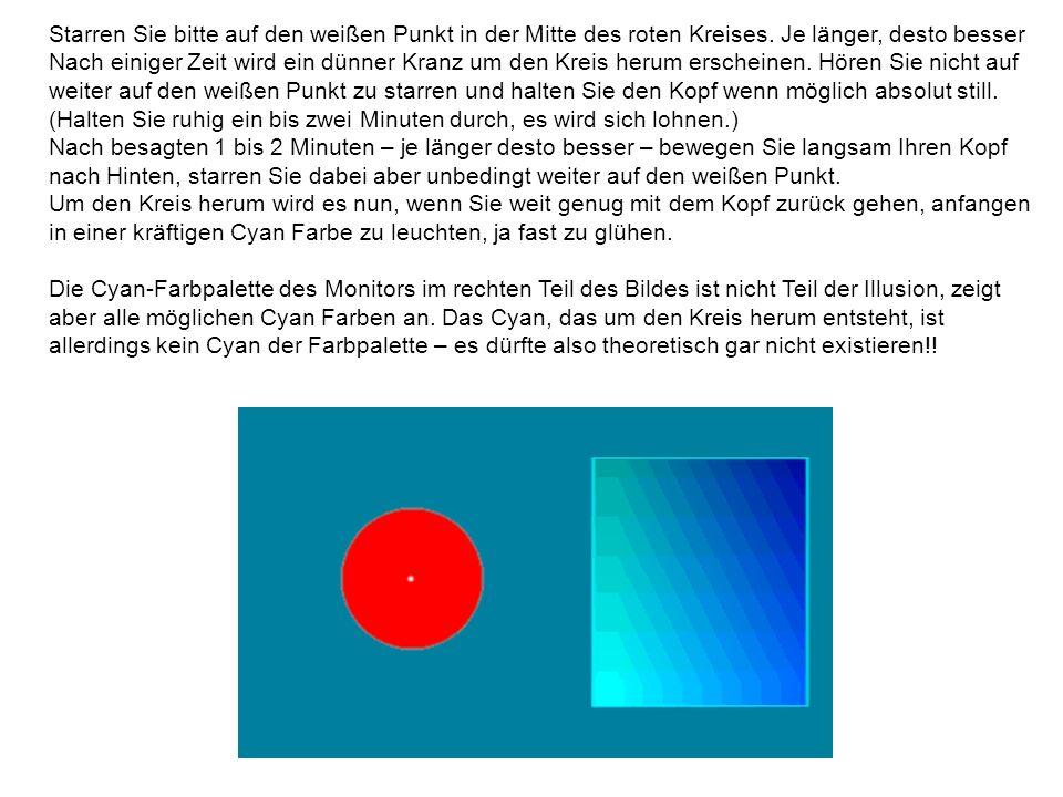 Starren Sie bitte auf den weißen Punkt in der Mitte des roten Kreises. Je länger, desto besser Nach einiger Zeit wird ein dünner Kranz um den Kreis he