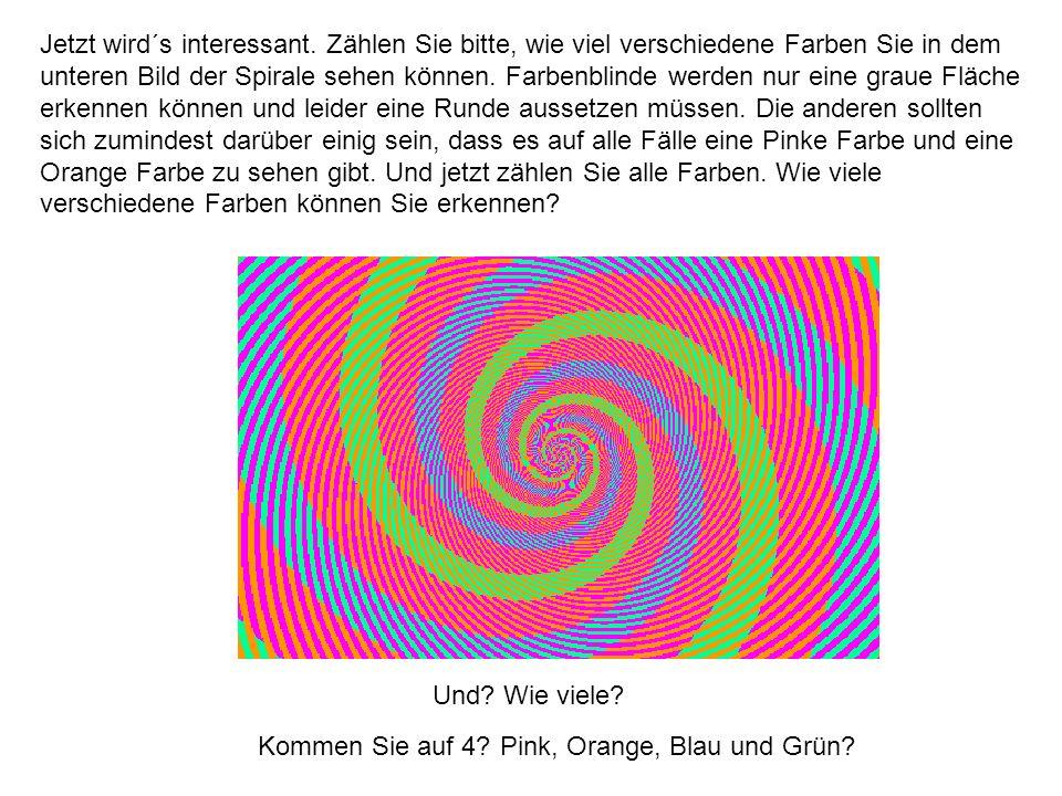 Jetzt wird´s interessant. Zählen Sie bitte, wie viel verschiedene Farben Sie in dem unteren Bild der Spirale sehen können. Farbenblinde werden nur ein