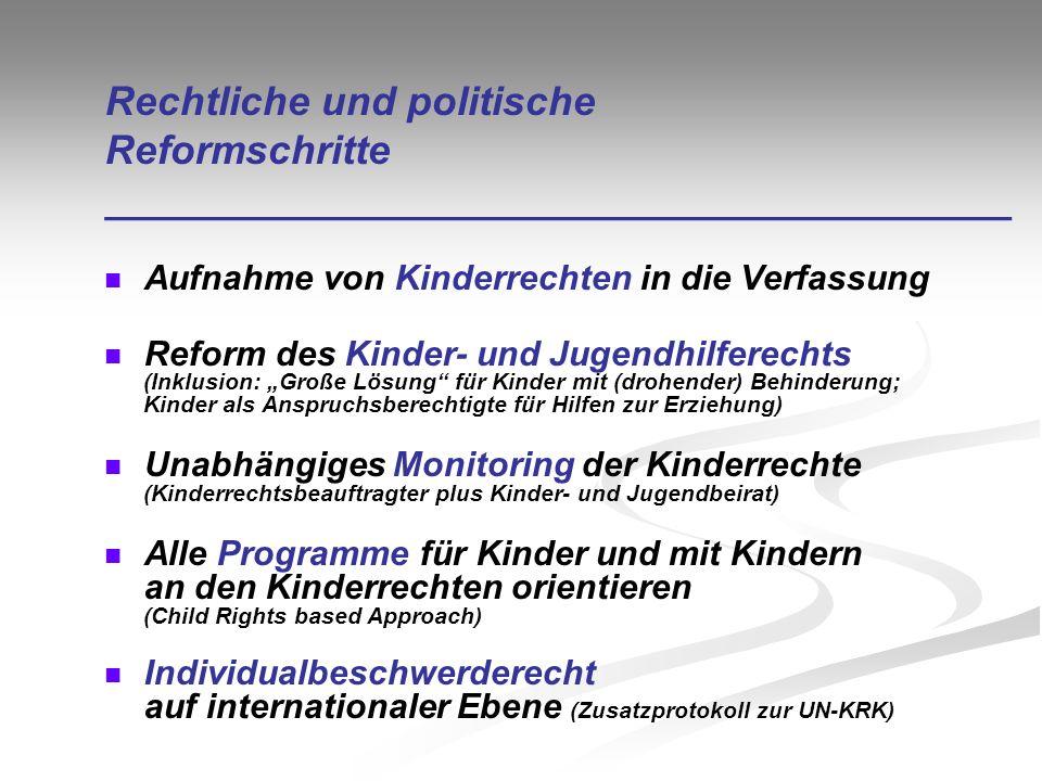 Rechtliche und politische Reformschritte ________________________________________ Aufnahme von Kinderrechten in die Verfassung Reform des Kinder- und