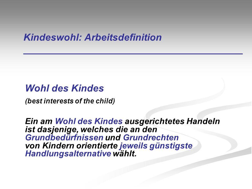 Kindeswohl: Arbeitsdefinition ________________________________________ Wohl des Kindes (best interests of the child) Ein am Wohl des Kindes ausgericht
