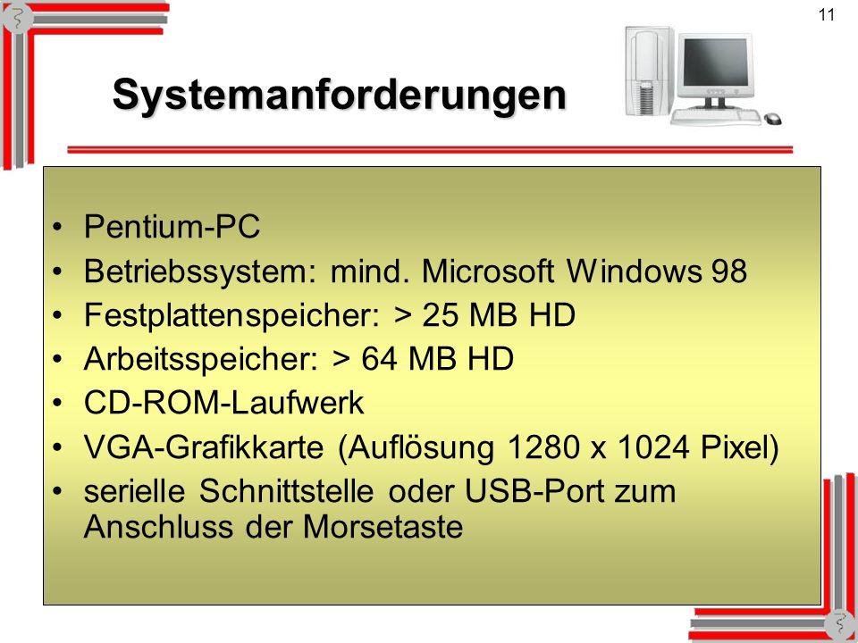 11 Systemanforderungen Systemanforderungen Pentium-PC Betriebssystem: mind. Microsoft Windows 98 Festplattenspeicher: > 25 MB HD Arbeitsspeicher: > 64