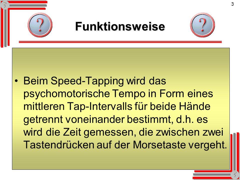 3Funktionsweise Beim Speed-Tapping wird das psychomotorische Tempo in Form eines mittleren Tap-Intervalls für beide Hände getrennt voneinander bestimm