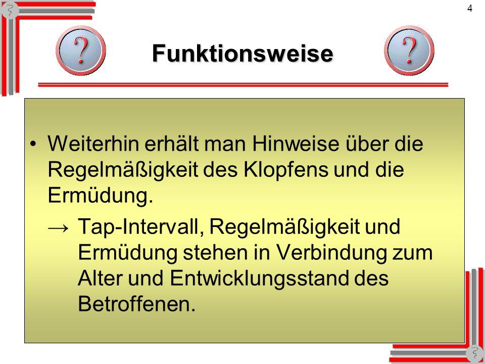 4Funktionsweise Weiterhin erhält man Hinweise über die Regelmäßigkeit des Klopfens und die Ermüdung. Tap-Intervall, Regelmäßigkeit und Ermüdung stehen