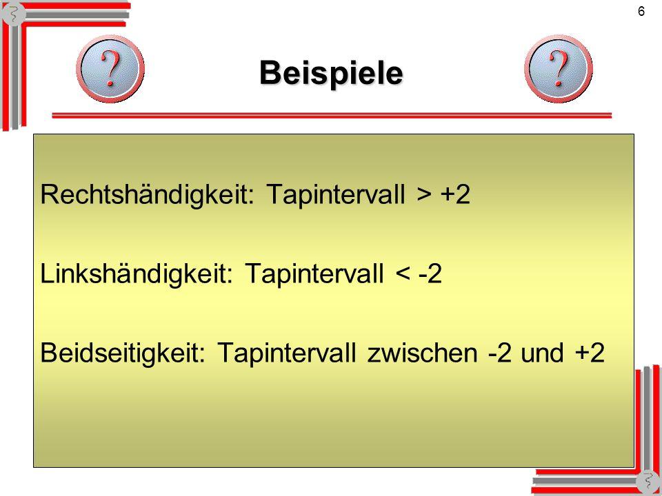6Beispiele Rechtshändigkeit: Tapintervall > +2 Linkshändigkeit: Tapintervall < -2 Beidseitigkeit: Tapintervall zwischen -2 und +2
