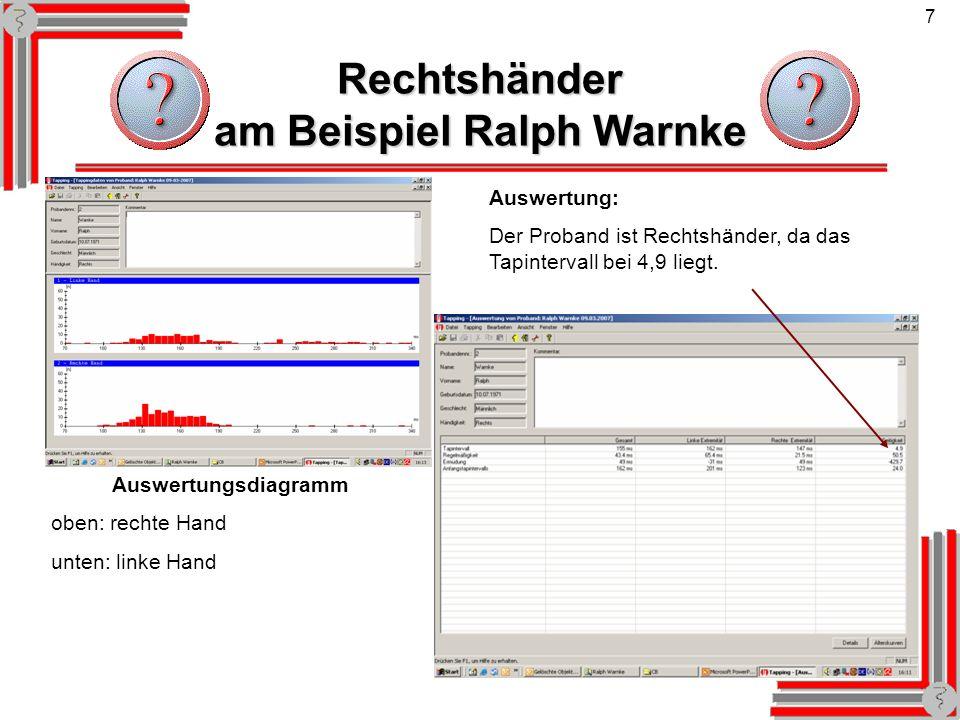 7 Rechtshänder am Beispiel Ralph Warnke Auswertung: Der Proband ist Rechtshänder, da das Tapintervall bei 4,9 liegt. Auswertungsdiagramm oben: rechte
