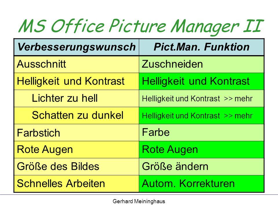 Gerhard Meininghaus MS Office Picture Manager II VerbesserungswunschPict.Man.