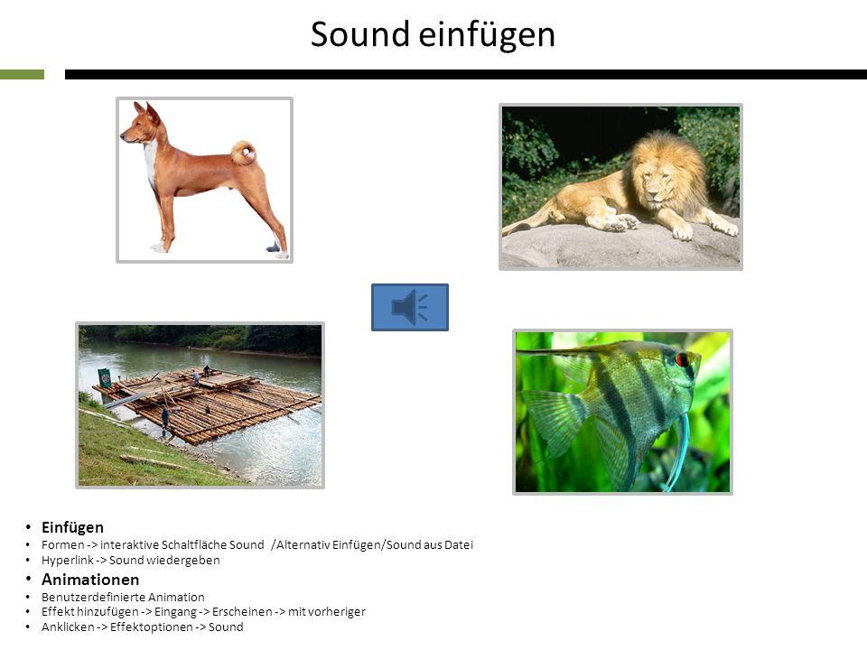 Einfügen Formen -> interaktive Schaltfläche Sound /Alternativ Einfügen/Sound aus Datei Hyperlink -> Sound wiedergeben Animationen Benutzerdefinierte Animation Effekt hinzufügen -> Eingang -> Erscheinen -> mit vorheriger Anklicken -> Effektoptionen -> Sound Sound einfügen