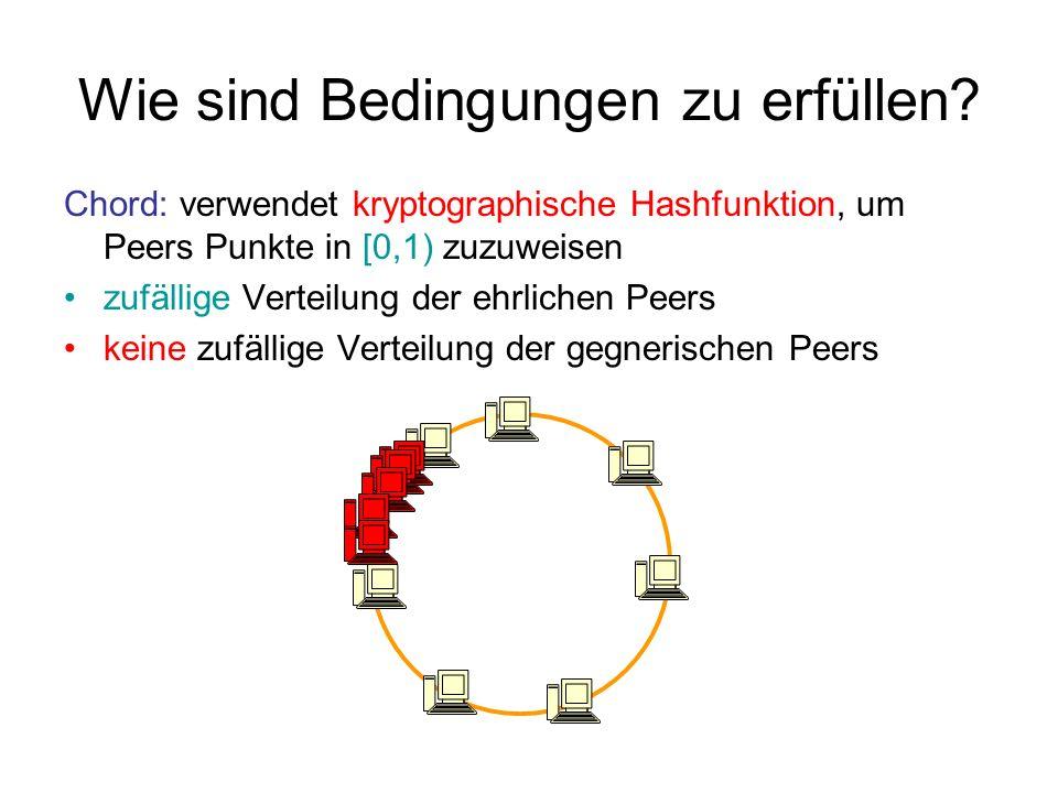 Wie sind Bedingungen zu erfüllen? Chord: verwendet kryptographische Hashfunktion, um Peers Punkte in [0,1) zuzuweisen zufällige Verteilung der ehrlich