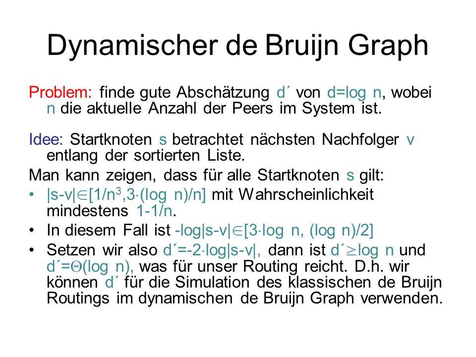 Dynamischer de Bruijn Graph Problem: finde gute Abschätzung d´ von d=log n, wobei n die aktuelle Anzahl der Peers im System ist. Idee: Startknoten s b