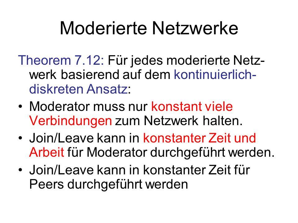 Moderierte Netzwerke Theorem 7.12: Für jedes moderierte Netz- werk basierend auf dem kontinuierlich- diskreten Ansatz: Moderator muss nur konstant viele Verbindungen zum Netzwerk halten.