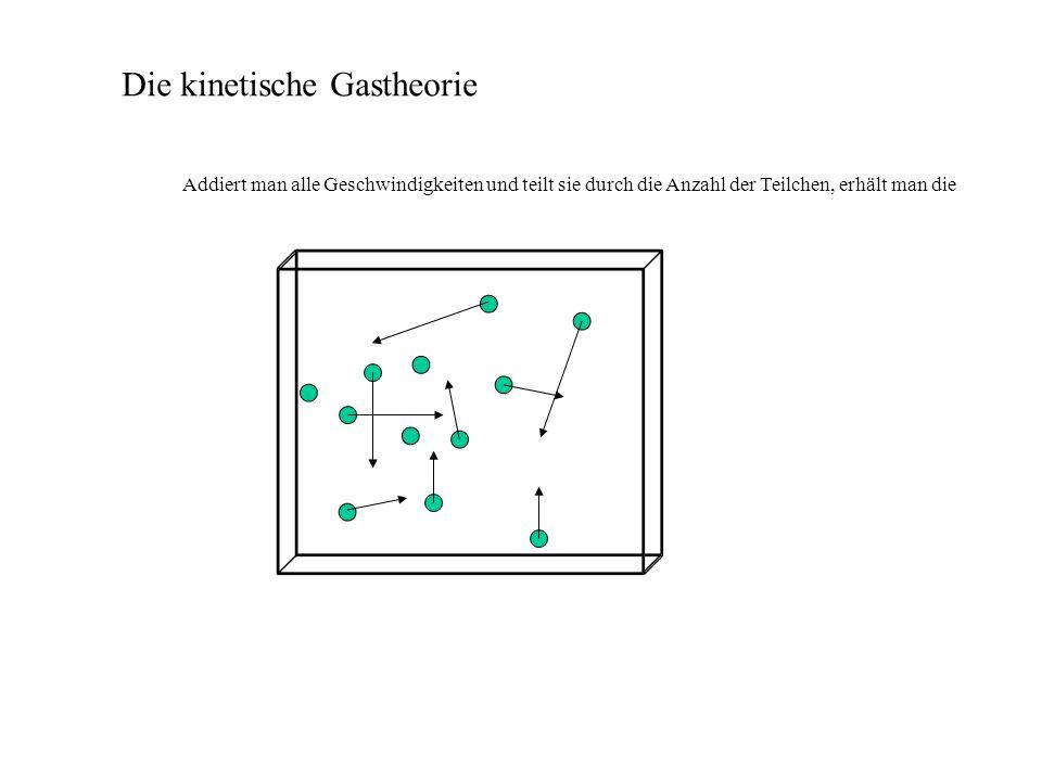 Die kinetische Gastheorie Addiert man alle Geschwindigkeiten und teilt sie durch die Anzahl der Teilchen, erhält man die Durchschnittsgeschwindigkeit.