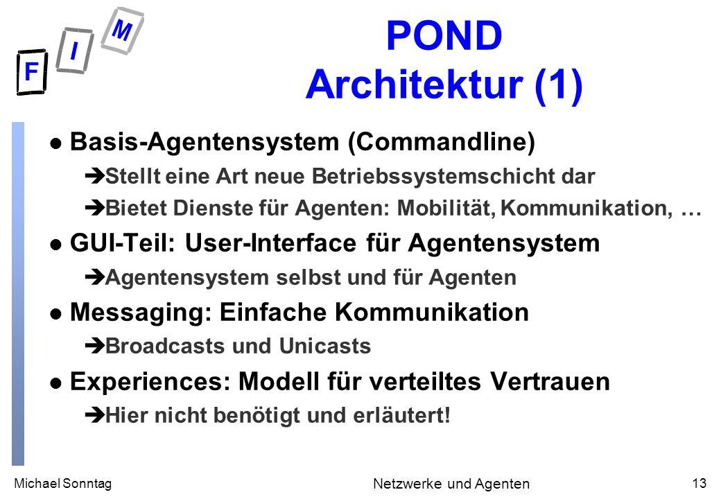 Michael Sonntag13 Netzwerke und Agenten POND Architektur (1) l Basis-Agentensystem (Commandline) èStellt eine Art neue Betriebssystemschicht dar èBiet