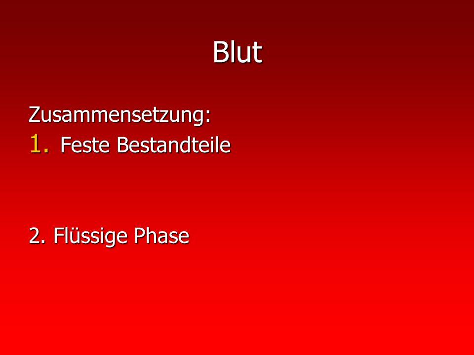 Blut Zusammensetzung: 1. Feste Bestandteile 2. Flüssige Phase