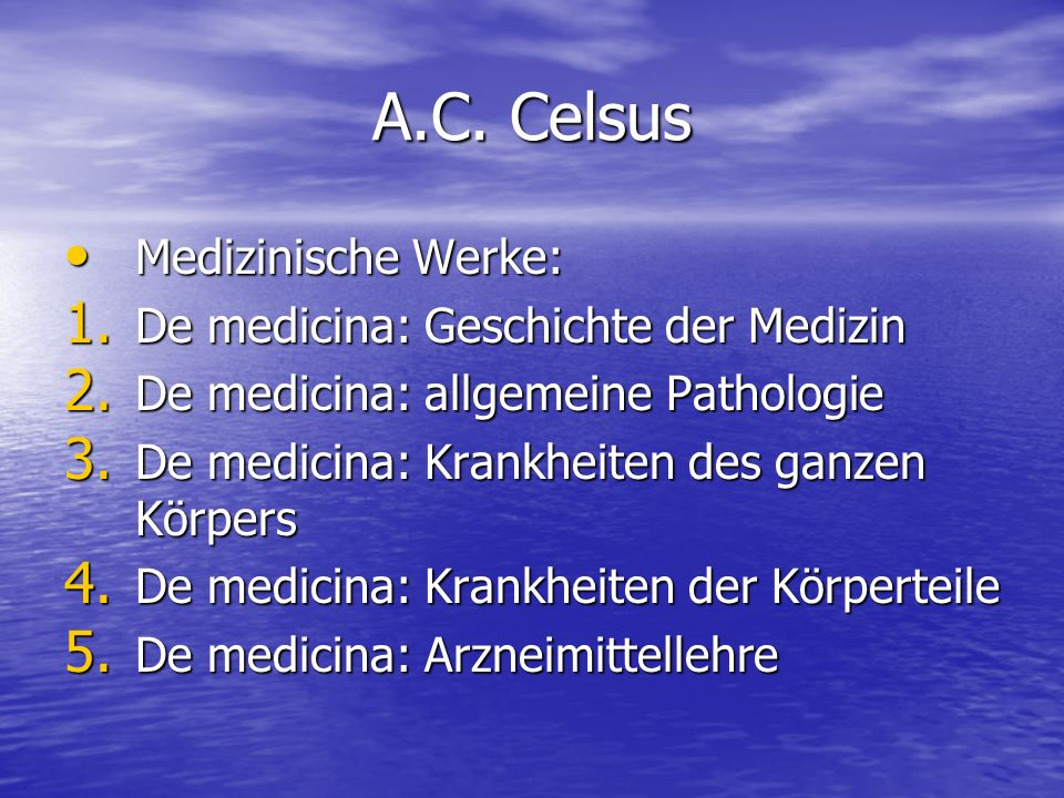 A.C.Celsus Medizinische Werke: Medizinische Werke: 1.
