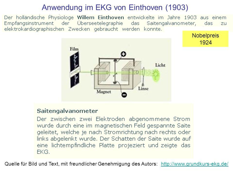 Anwendung im EKG von Einthoven (1903) Nobelpreis 1924 Quelle für Bild und Text, mit freundlicher Genehmigung des Autors: http://www.grundkurs-ekg.de/
