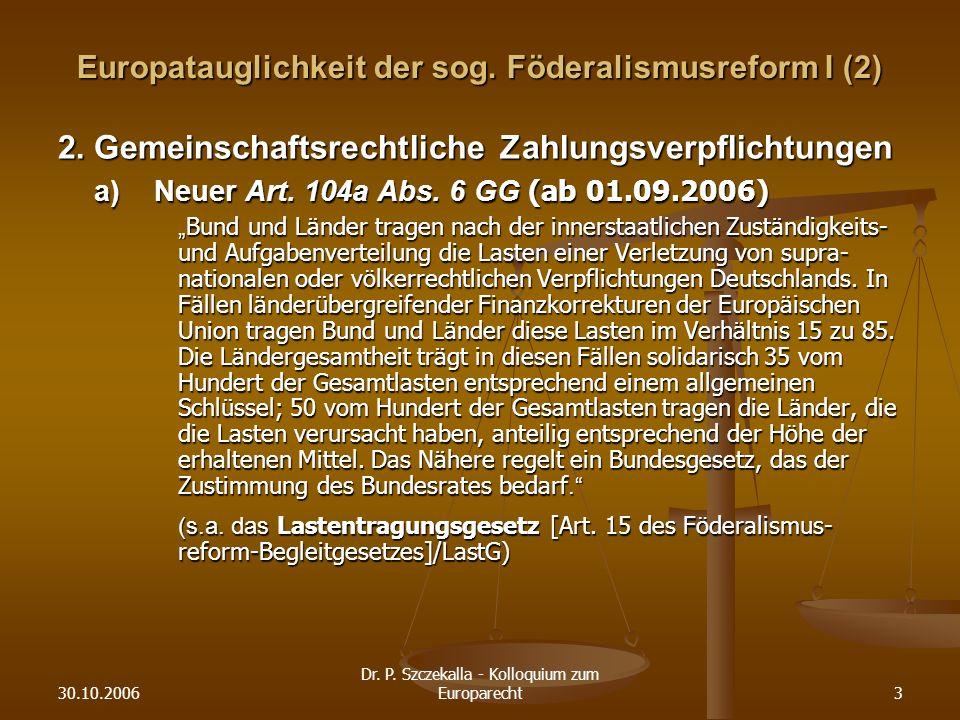 30.10.2006 Dr.P. Szczekalla - Kolloquium zum Europarecht3 Europatauglichkeit der sog.