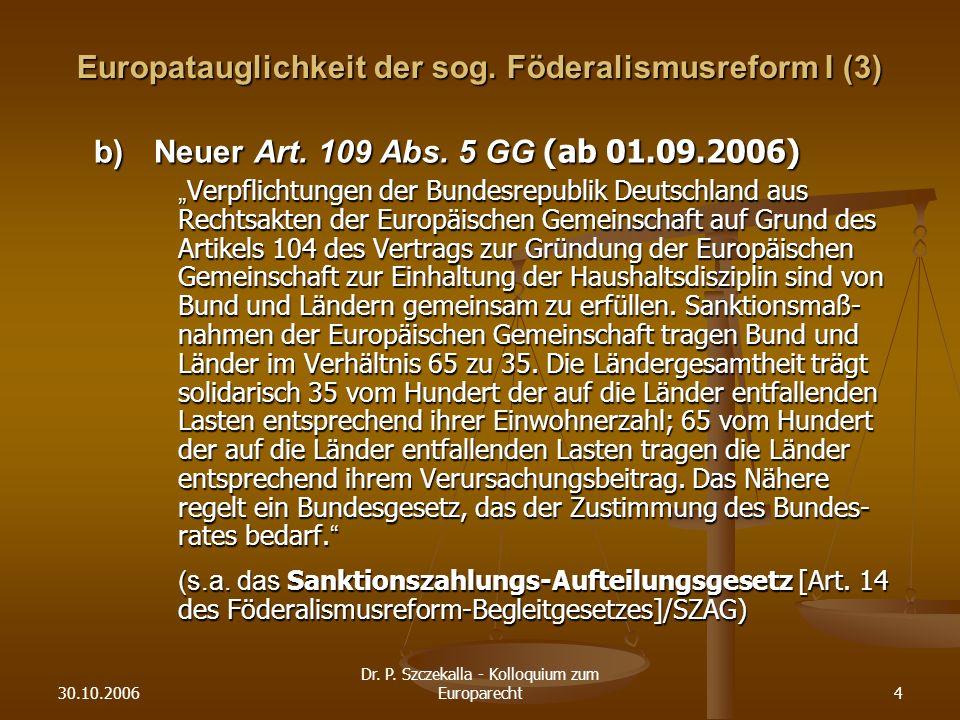 30.10.2006 Dr.P. Szczekalla - Kolloquium zum Europarecht4 Europatauglichkeit der sog.