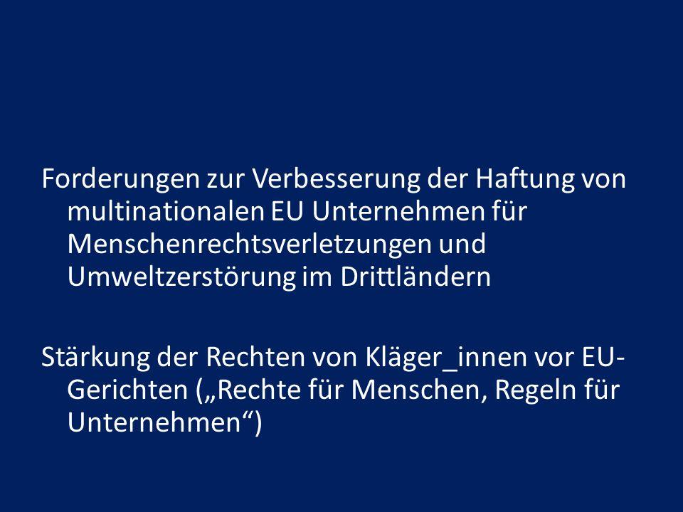 Forderungen zur Verbesserung der Haftung von multinationalen EU Unternehmen für Menschenrechtsverletzungen und Umweltzerstörung im Drittländern Stärkung der Rechten von Kläger_innen vor EU- Gerichten (Rechte für Menschen, Regeln für Unternehmen)