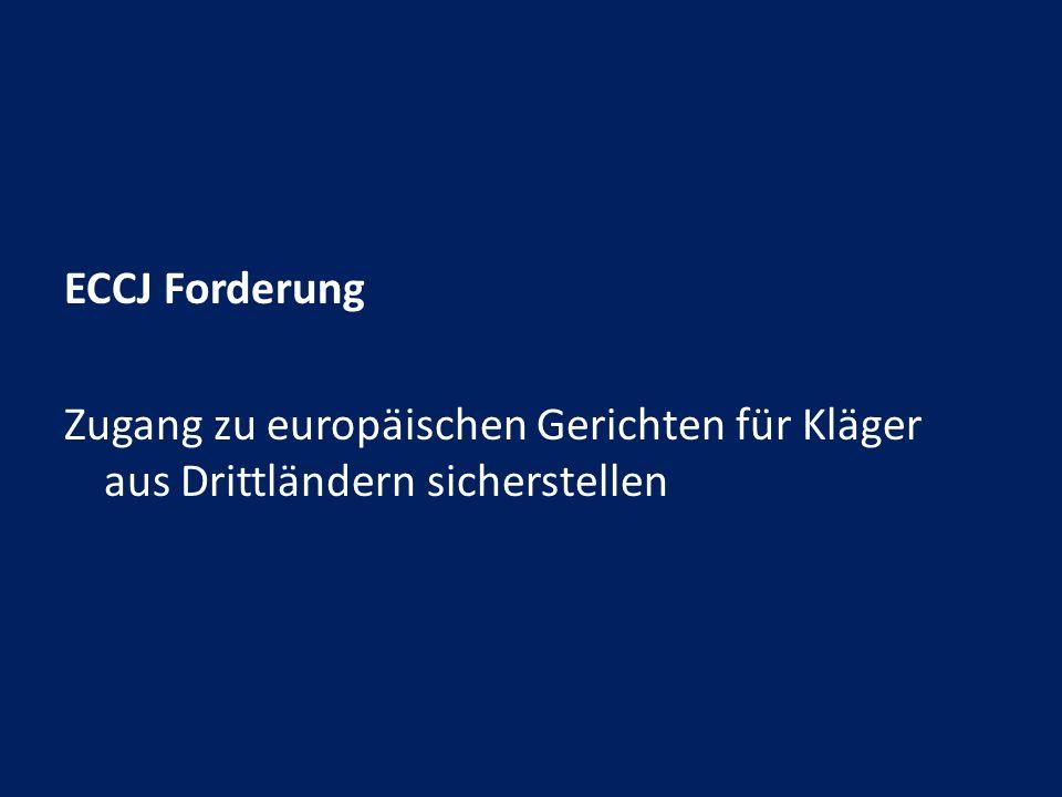 ECCJ Forderung Zugang zu europäischen Gerichten für Kläger aus Drittländern sicherstellen
