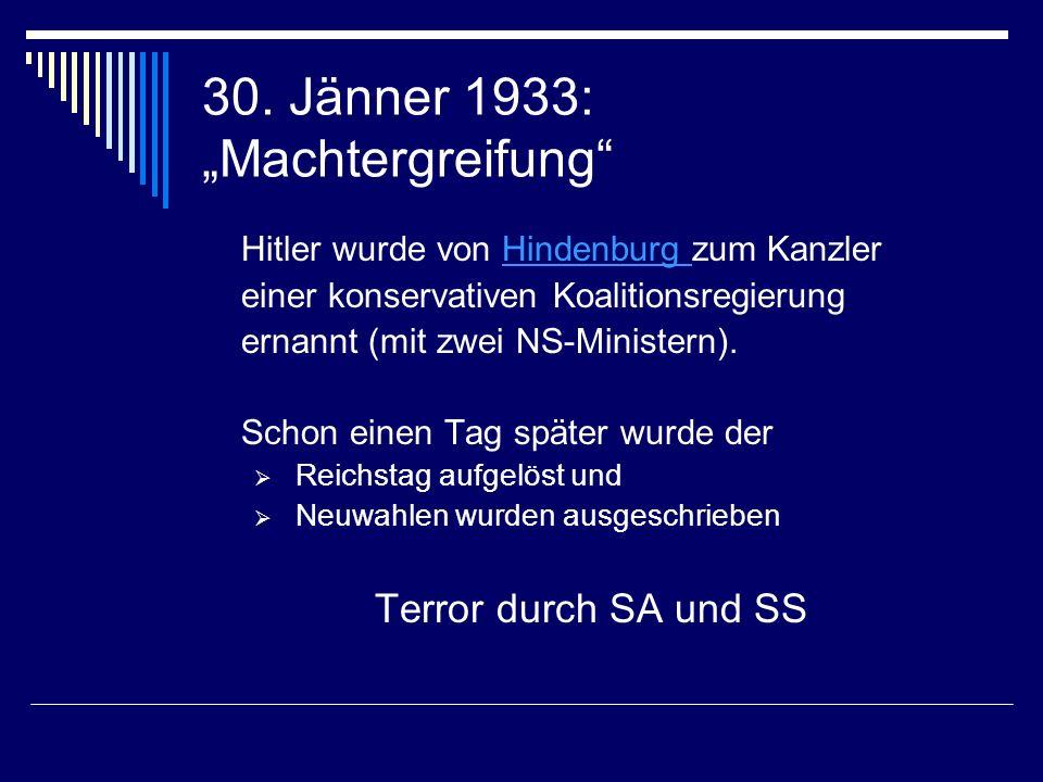 30. Jänner 1933: Machtergreifung Hitler wurde von Hindenburg zum KanzlerHindenburg einer konservativen Koalitionsregierung ernannt (mit zwei NS-Minist