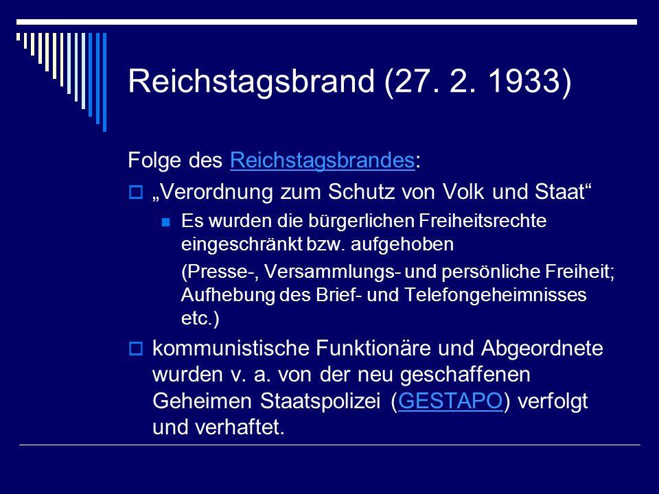 Reichstagsbrand (27. 2. 1933) Folge des Reichstagsbrandes:Reichstagsbrandes Verordnung zum Schutz von Volk und Staat Es wurden die bürgerlichen Freihe