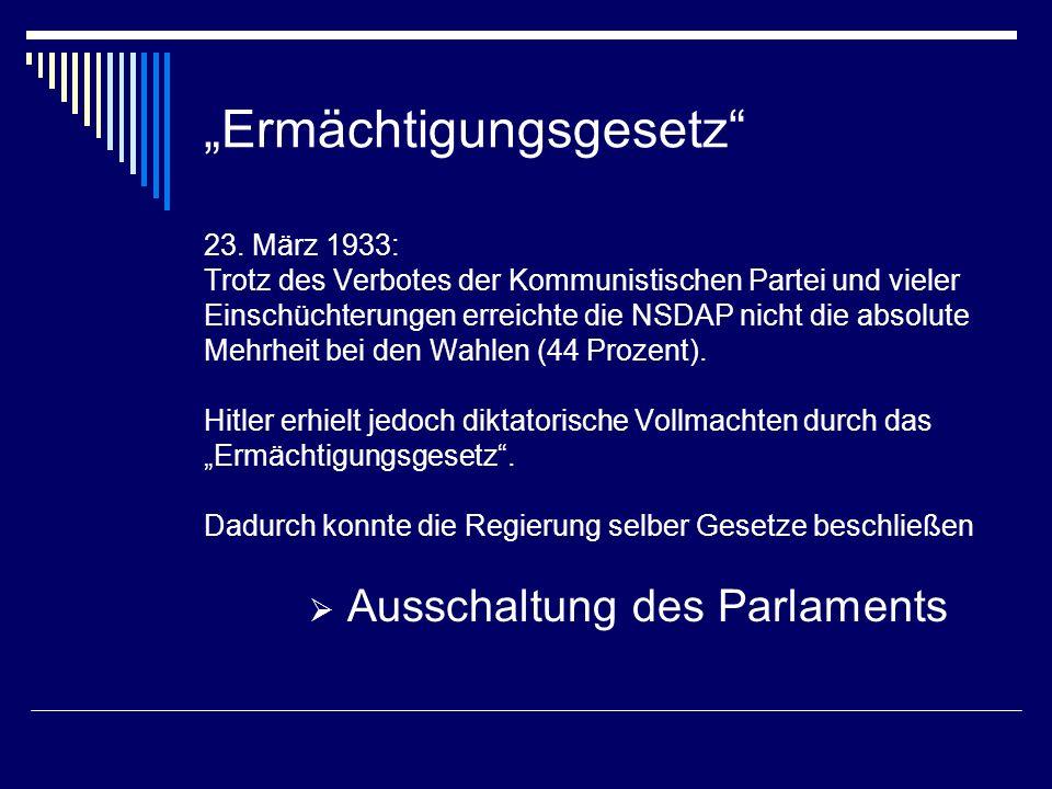 Ermächtigungsgesetz 23. März 1933: Trotz des Verbotes der Kommunistischen Partei und vieler Einschüchterungen erreichte die NSDAP nicht die absolute M