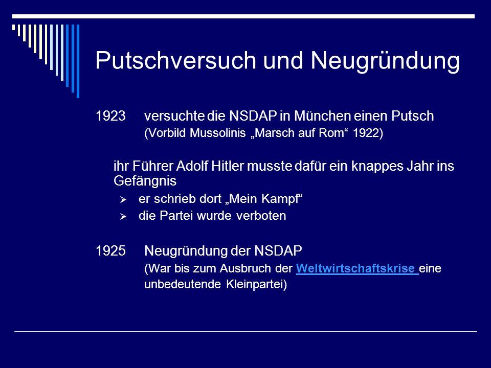 Putschversuch und Neugründung 1923 versuchte die NSDAP in München einen Putsch (Vorbild Mussolinis Marsch auf Rom 1922) ihr Führer Adolf Hitler musste