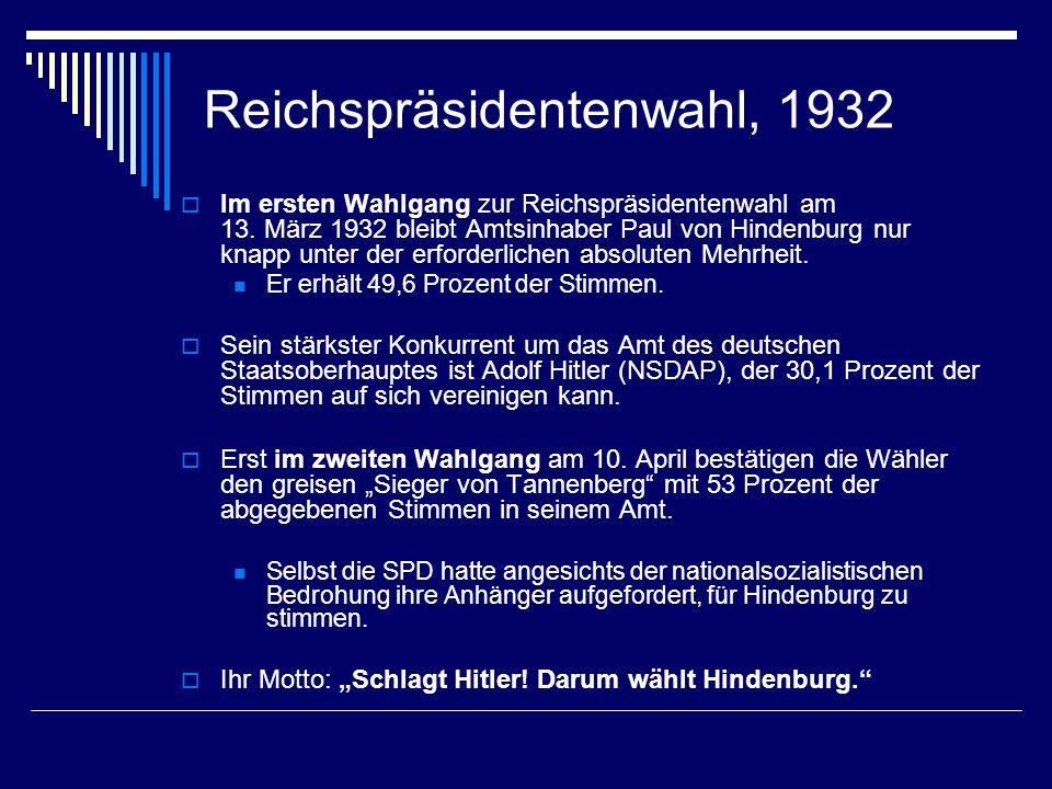 Reichspräsidentenwahl, 1932 Im ersten Wahlgang zur Reichspräsidentenwahl am 13. März 1932 bleibt Amtsinhaber Paul von Hindenburg nur knapp unter der e