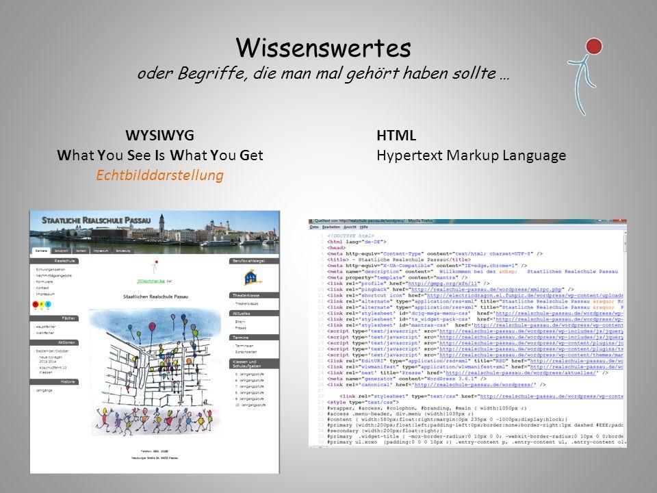 WYSIWYG What You See Is What You Get Echtbilddarstellung HTML Hypertext Markup Language Wissenswertes oder Begriffe, die man mal gehört haben sollte …
