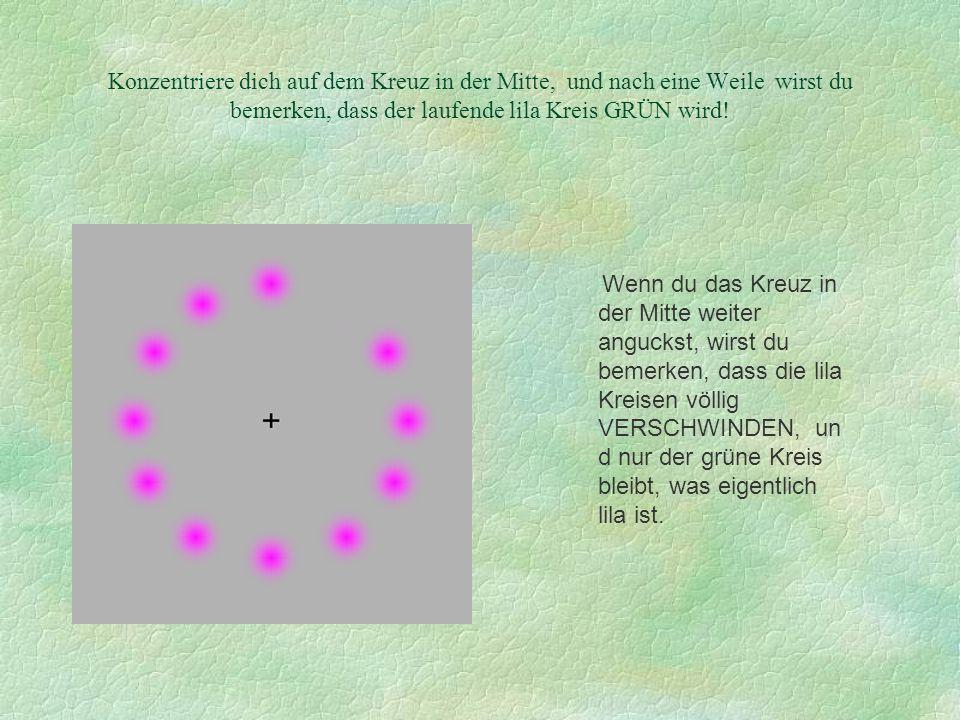 Konzentriere dich auf dem Kreuz in der Mitte, und nach eine Weile wirst du bemerken, dass der laufende lila Kreis GRÜN wird! Wenn du das Kreuz in der