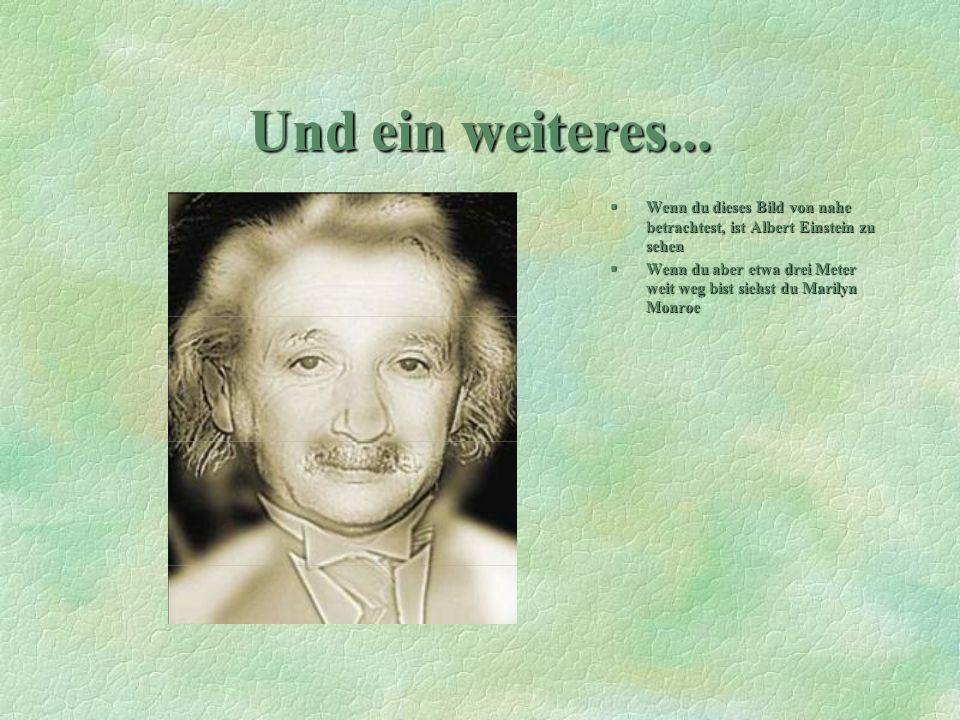 Und ein weiteres... §Wenn du dieses Bild von nahe betrachtest, ist Albert Einstein zu sehen §Wenn du aber etwa drei Meter weit weg bist siehst du Mari