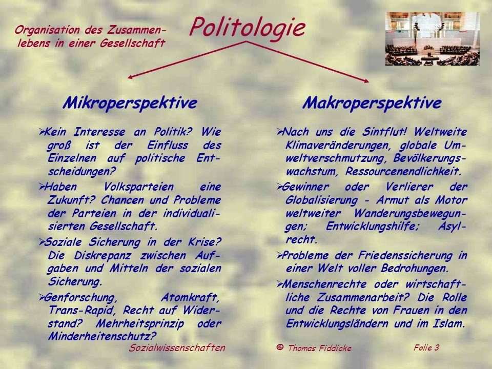 © Thomas Fiddicke Folie 3 Sozialwissenschaften Politologie Mikroperspektive Kein Interesse an Politik? Wie groß ist der Einfluss des Einzelnen auf pol