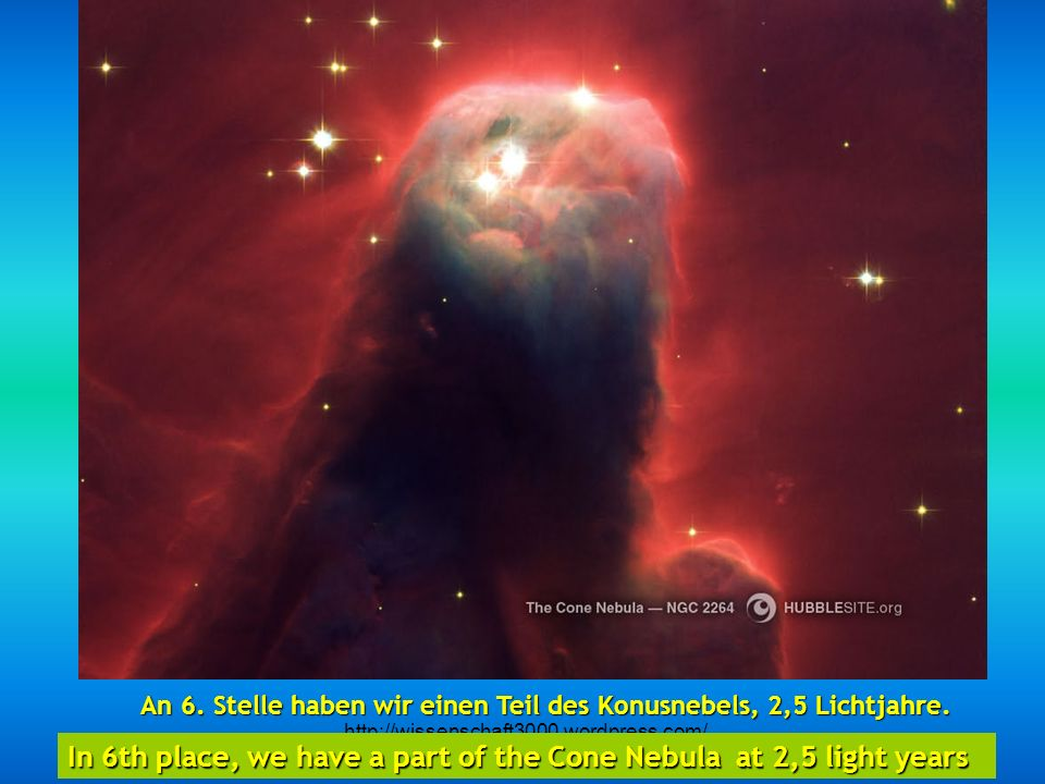 http://wissenschaft3000.wordpress.com/ An fünfter Stelle der Sanduhrnebel, 8000 Lichtjahre gelegen – das Resultat eines explodierenden Sterns. Fifth p