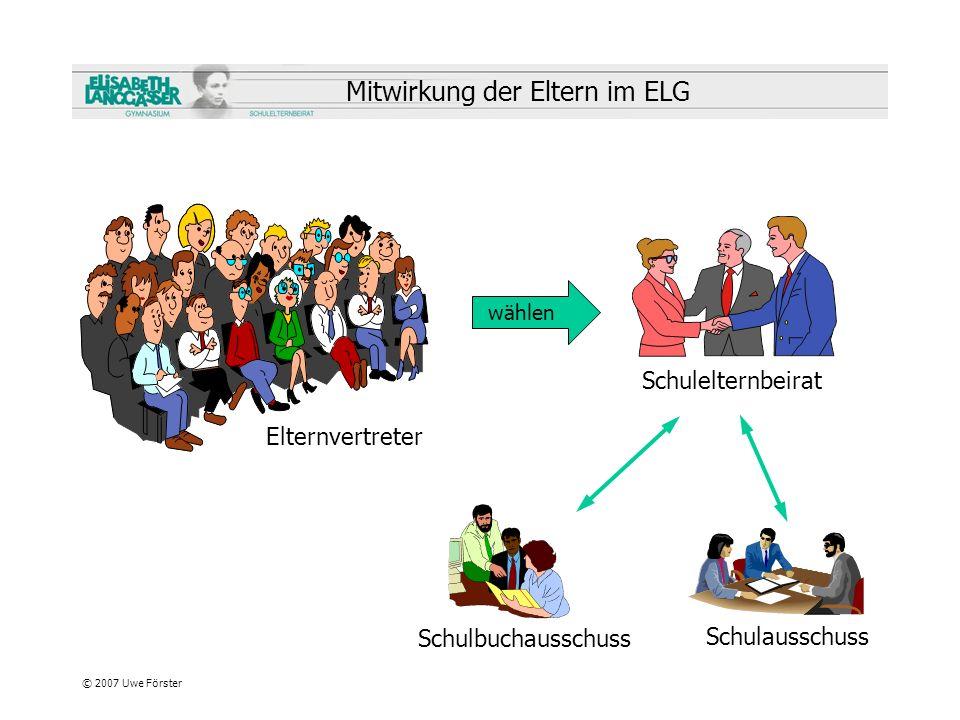 © 2007 Uwe Förster Mitwirkung der Eltern im ELG Elternvertreter Schulelternbeirat Schulausschuss Schulbuchausschuss wählen