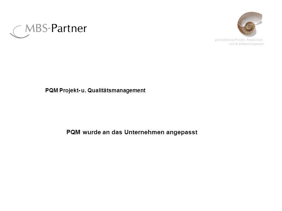 ganzheitliches Projekt-, Ressourcen- und Qualitätsmanagement PQM Projekt- u. Qualitätsmanagement PQM wurde an das Unternehmen angepasst