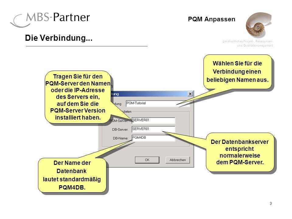 ganzheitliches Projekt-, Ressourcen- und Qualitätsmanagement 3 PQM Anpassen Die Verbindung... Wählen Sie für die Verbindung einen beliebigen Namen aus