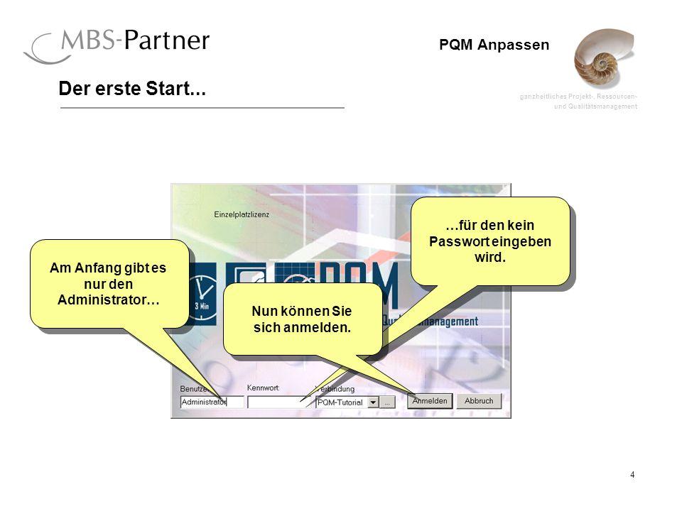 ganzheitliches Projekt-, Ressourcen- und Qualitätsmanagement 4 PQM Anpassen Der erste Start... Am Anfang gibt es nur den Administrator… …für den kein