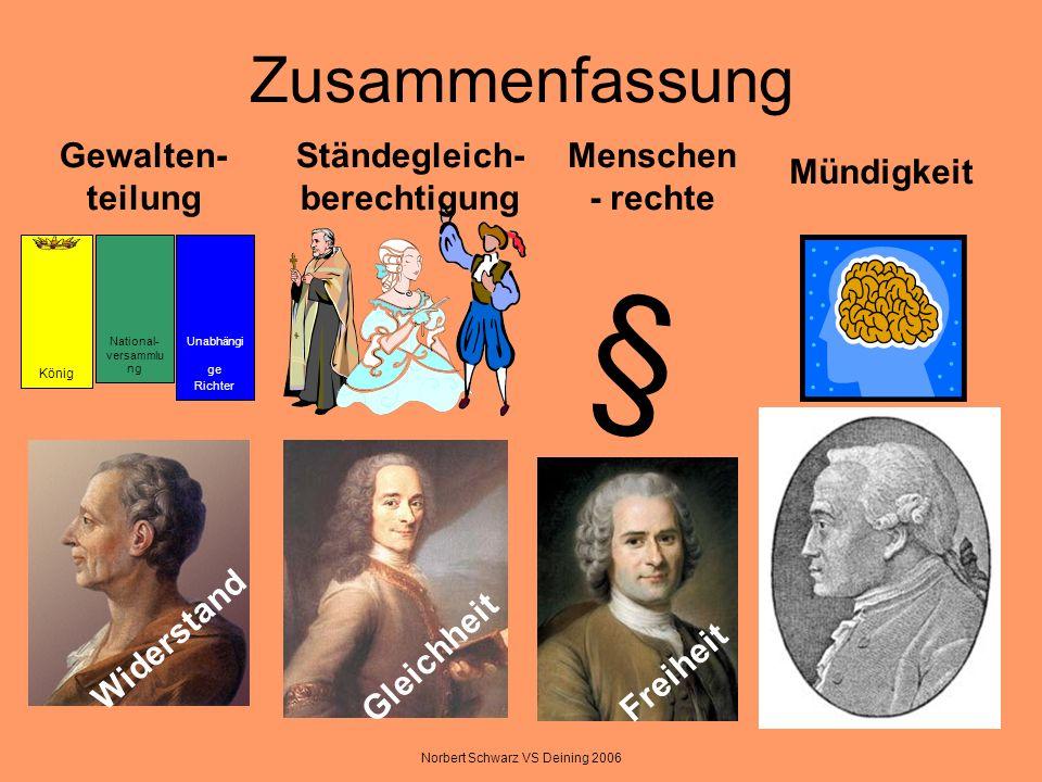Norbert Schwarz VS Deining 2006 Zusammenfassung König National- versammlu ng Unabhängi ge Richter § Gewalten- teilung Ständegleich- berechtigung Mensc