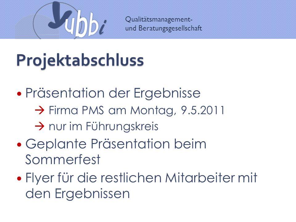 Qualitätsmanagement- und Beratungsgesellschaft Projektabschluss Präsentation der Ergebnisse Firma PMS am Montag, 9.5.2011 nur im Führungskreis Geplant
