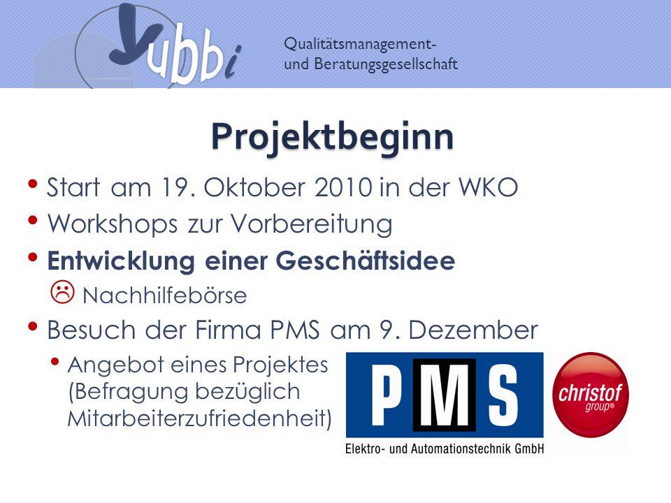 Qualitätsmanagement- und Beratungsgesellschaft Projektbeginn Start am 19. Oktober 2010 in der WKO Workshops zur Vorbereitung Entwicklung einer Geschäf