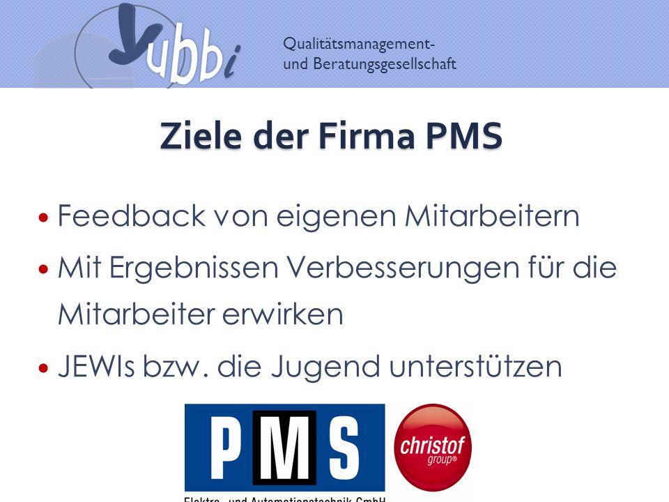 Qualitätsmanagement- und Beratungsgesellschaft Ziele der Firma PMS Feedback von eigenen Mitarbeitern Mit Ergebnissen Verbesserungen für die Mitarbeiter erwirken JEWIs bzw.